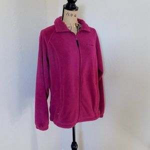 Columbia Dark Fuchsia Fuzzy Zip Up Jacket Size L